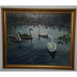 Lot 32 - Painting Oil on Board Swans on Lake signed Beardmore c1980's