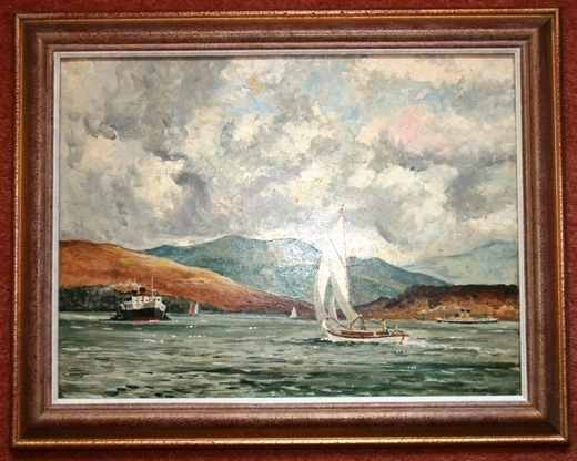 Lot 29 - Norman Wilkinson Painting Oil on Board Loch Scene