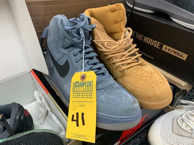 PAIR NIKE AIR FORCE ONE HIGH TOPS - MENS - 315121-415 / SIZE 10.5 - 555088-710 / SIZE 14