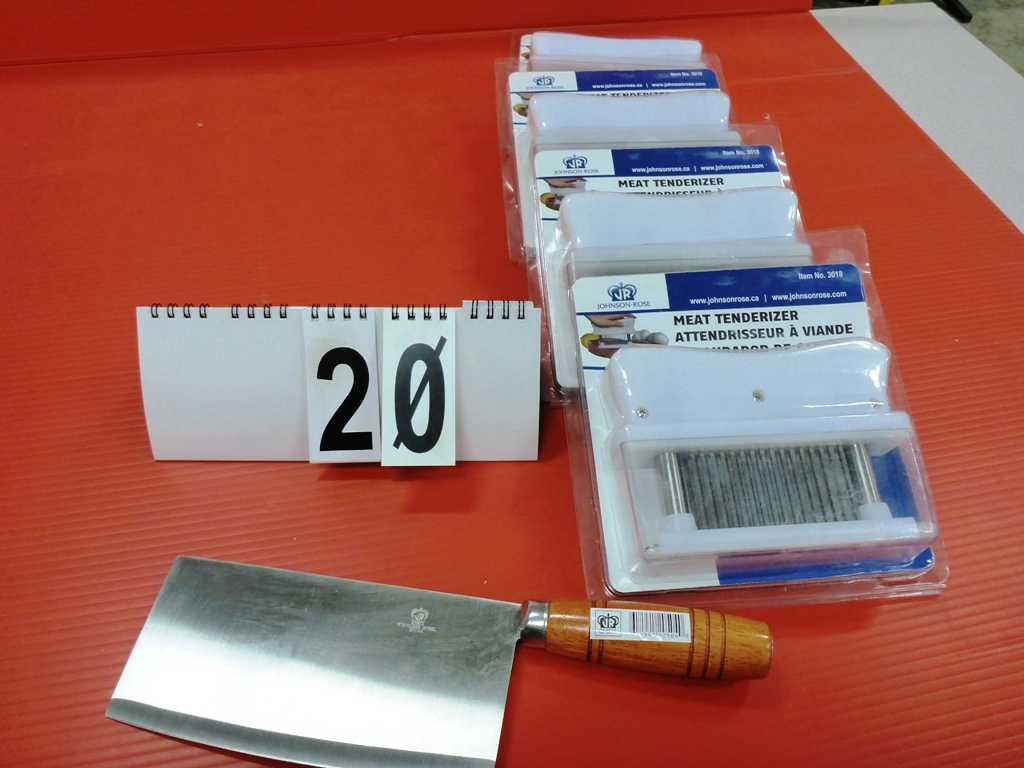 Lot 20 - L/O 3 - JR MEAT TENDERIZERS, JR SS MEAT CLEAVER