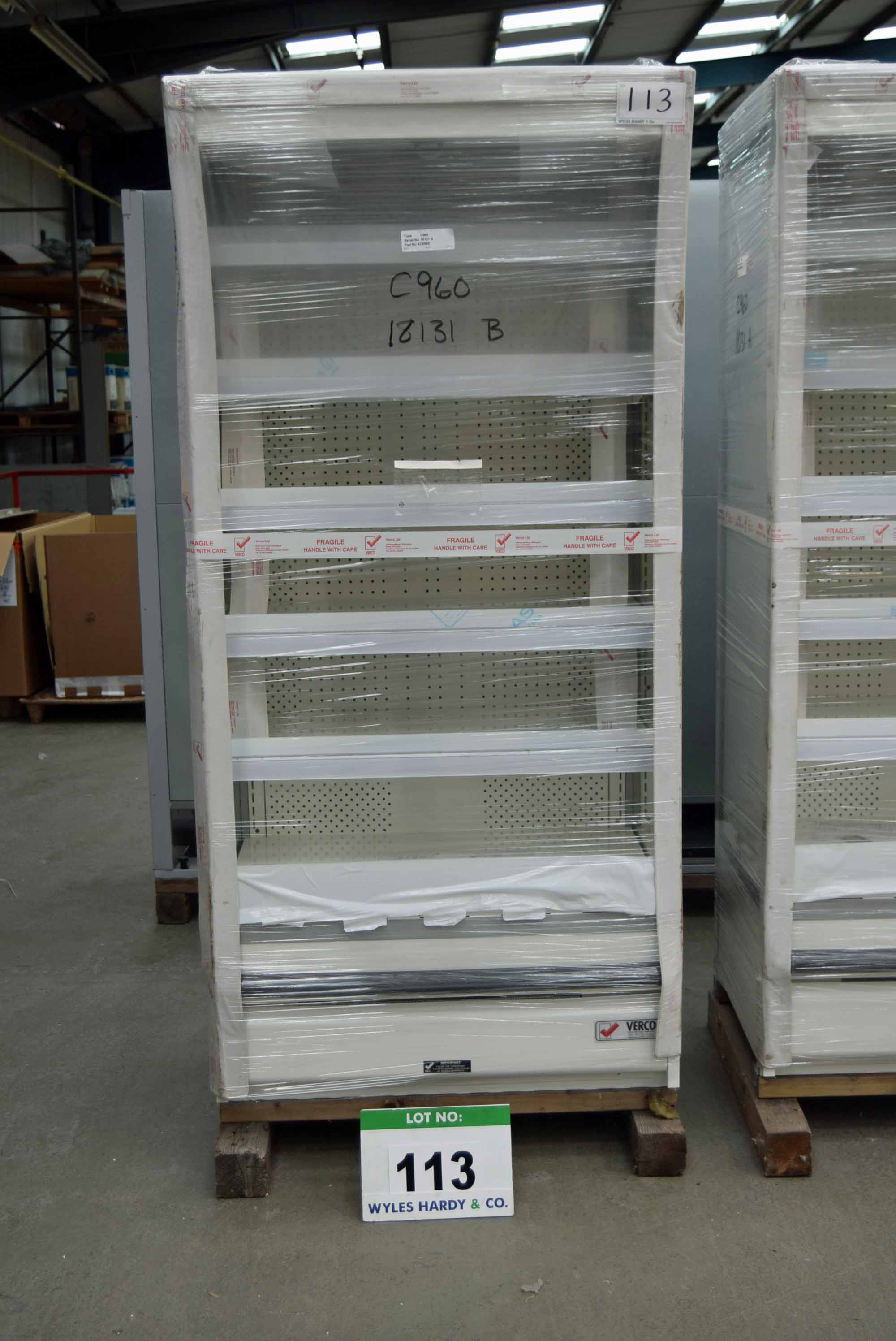 Lot 113 - A VERCO C960 960mm x 2034mm Multideck Chiller Cabinet (Unused) and Shelving Unit (As Photographed)