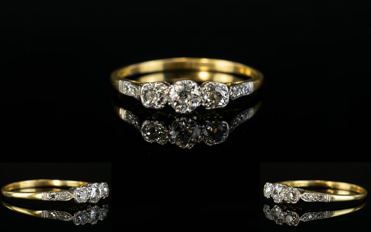 Lot 32 - 18ct Gold and Platinum 3 Stone Diamond R