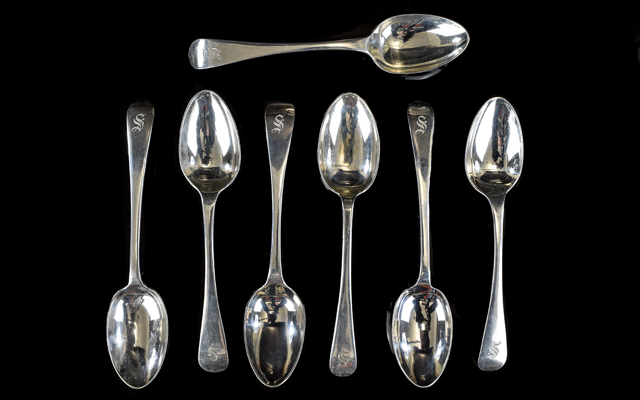 Lot 124 - Early Set of George V Silver Teaspoons (