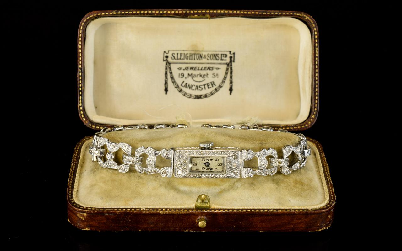 Lot 73 - Ladies Art Deco Platinum & Diamond Brace