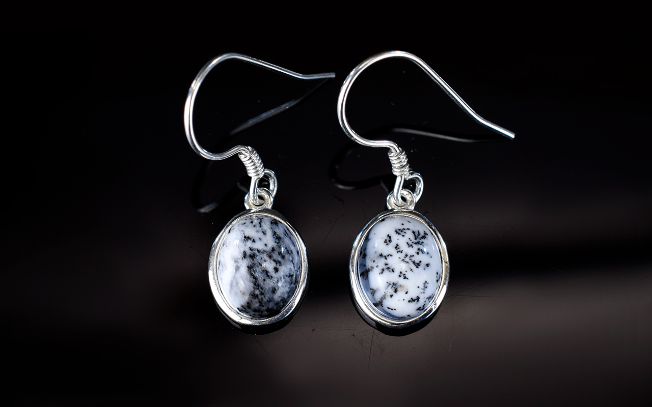 Lot 278 - Dendritic Opal Pair of Drop Earrings, ov
