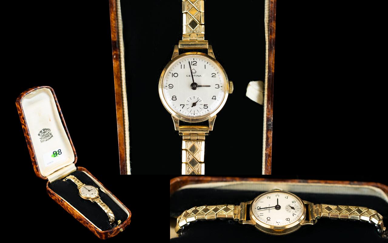 Lot 98 - Ladies Certina 18 Gold Cased Wrist Watch