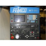 Femco mod. WT-50L, CNC Turning Center w/ Fanuc Series O-T CNC Controls, 3-Jaw Chuck, 12-Position