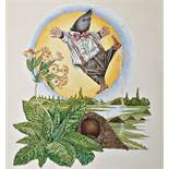 Owen Wood Watercolour Mole jumping for joy, original watercolour for the dust jacket for the Wind in