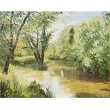 "Valerie Chilton ""Sun and Shadow sunlit woodland pool"" signed and labelled verso, 39 x 49.5 cm"