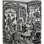 "After Derek Harris (1919-1960) Wood engraving ""Harvest with sickle"" for the Folio Society,"