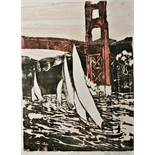"After Lou Waterman Limited edition linocut 38/100 ""Golden Gate"", signed in pencil lower right,"