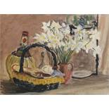 W.G.Scott-Brown 'Bill' Acrylic on board Still life study of narcissus with chianti bottle and