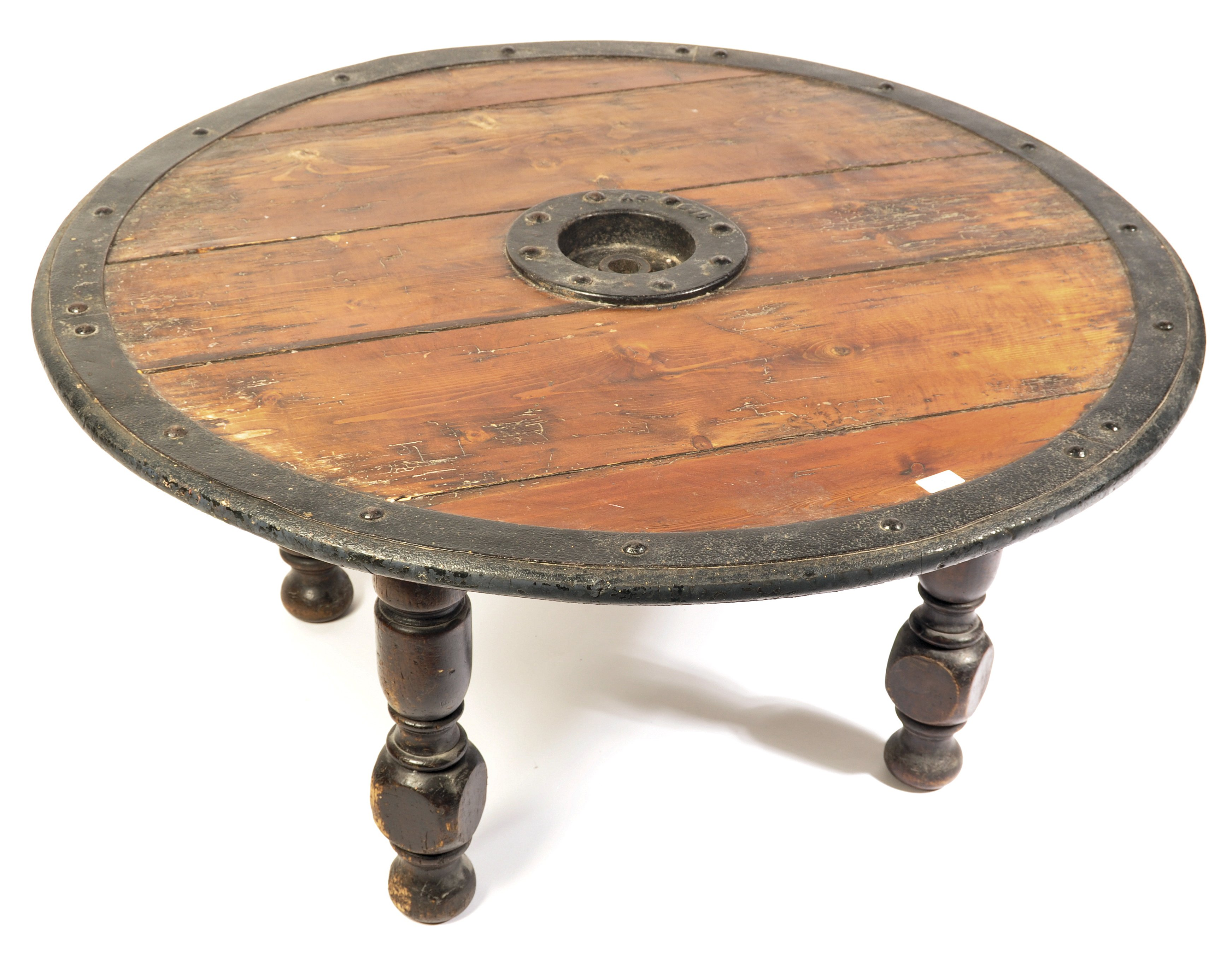 Lot 34 - LATE 19TH / EARLY 20TH CENTURY ANTIQUE SHIELD WHEEL COFFEE TABLE