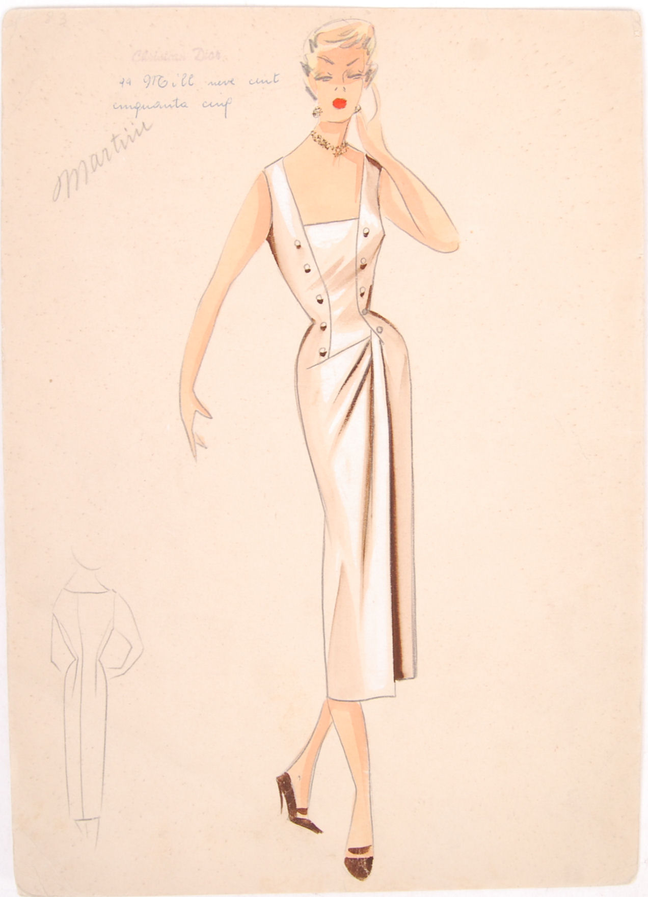 Lot 4 - CHRISTIAN DIOR MID 20TH CENTURY FASHION DESIGN PENCIL & INK SKETCH