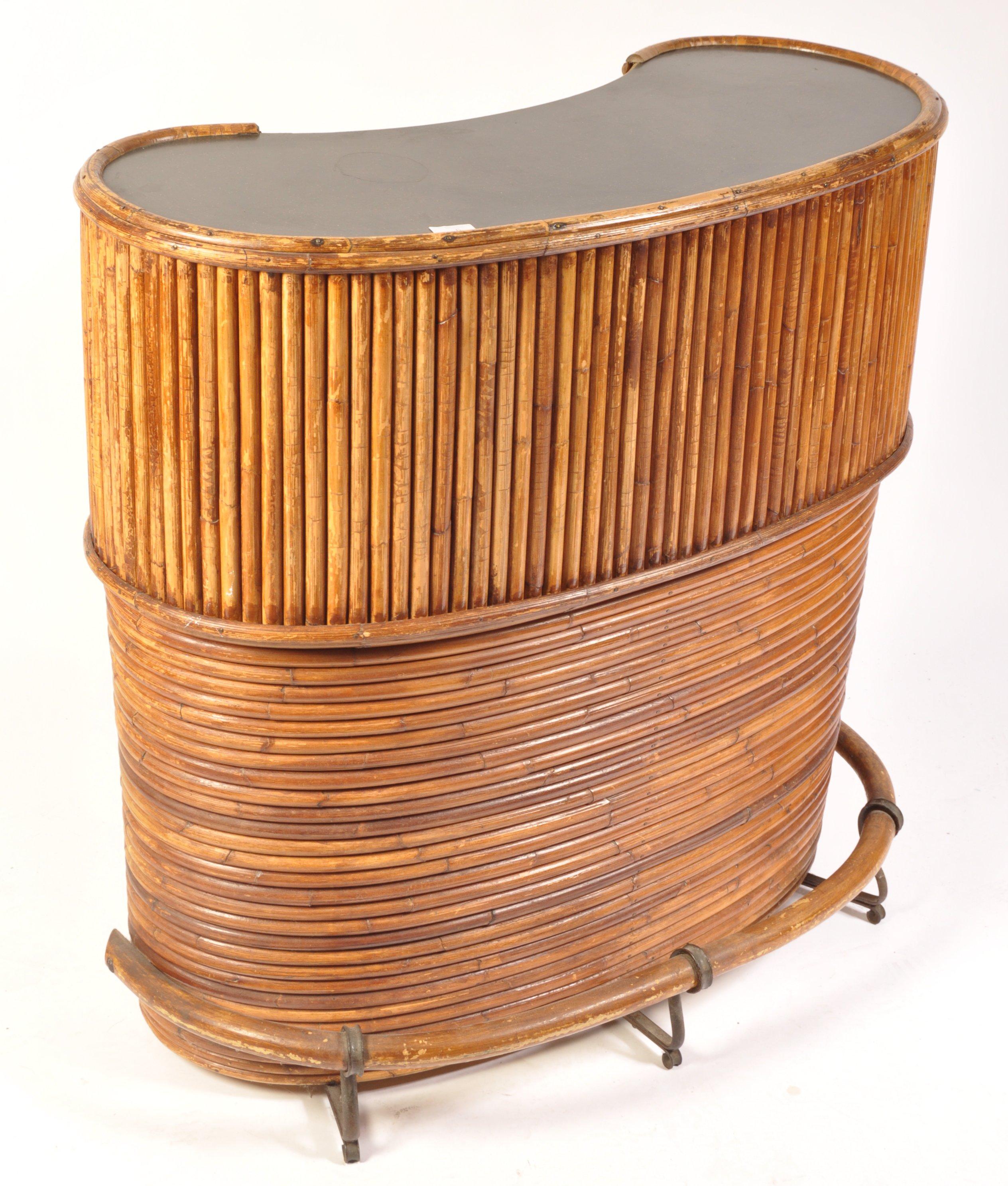 Lot 6 - 1950'S RETRO VINTAGE KIDNEY SHAPED BENT CANE COCKTAIL BAR