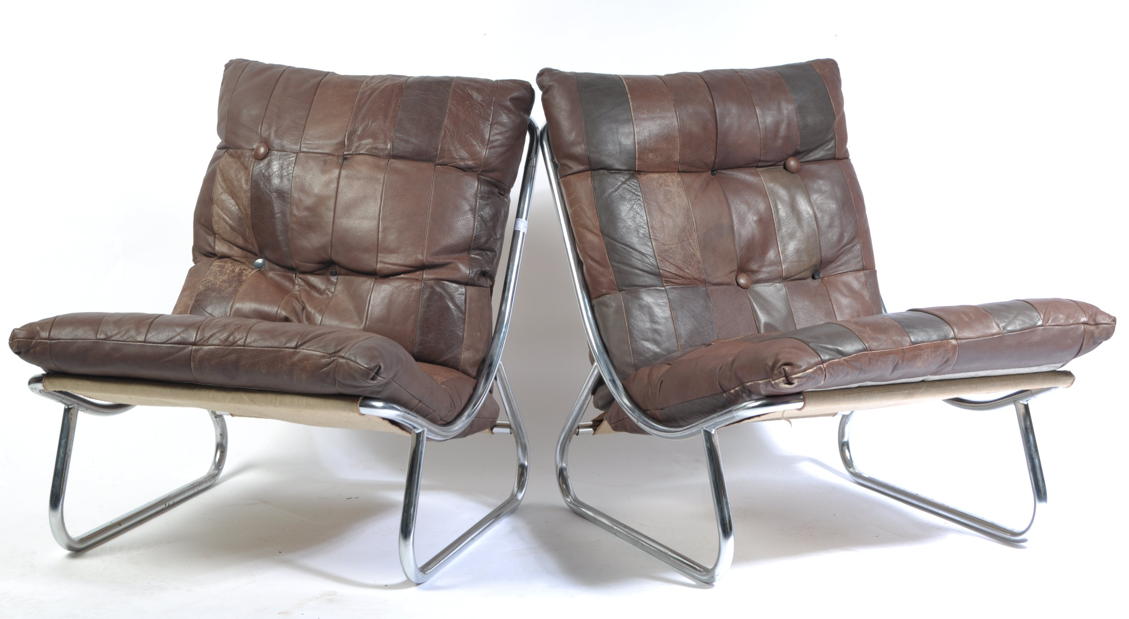 Lot 14 - PAIR OF 1970'S CHROME SLING / LOUNGE CHAIRS WITH PATCHWORK LEATHER
