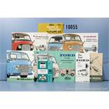 Konv. 9 alte original Ford Autoprospekte, Falt- und Werbeblätter, dabei für Ford FK 1000/1250