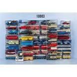 Konv. 45 Brekina H0 Modellfahrzeuge, dabei Einsatzfahrzeuge, Lkw, Omnibusse, Zugmaschinen usw.,