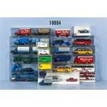 Konv. 25 H0 Modellfahrzeuge, dabei Pkw, Transporter, Omnibusse, Pkw mit Anhänger, Einsatzfahrzeuge