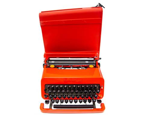 Ettore Sottsass and Perry King for Olivetti, a Valentine portable typewriter, circa 1968, red plastic, Barcelona Note: an exa