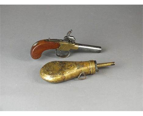 A percussion pistol by Nock, Londoncirca 1830with turn-off barrel, boxlock, action inscribed within ovals to each side, flat-