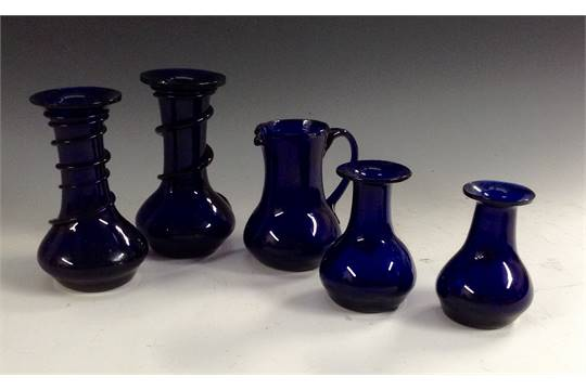 A Pair Of Bristol Blue Glass Vases Applied With Spiral Trails