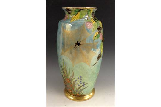 A Carlton Ware Spider Web Vase Printed And Painted With Spider Web