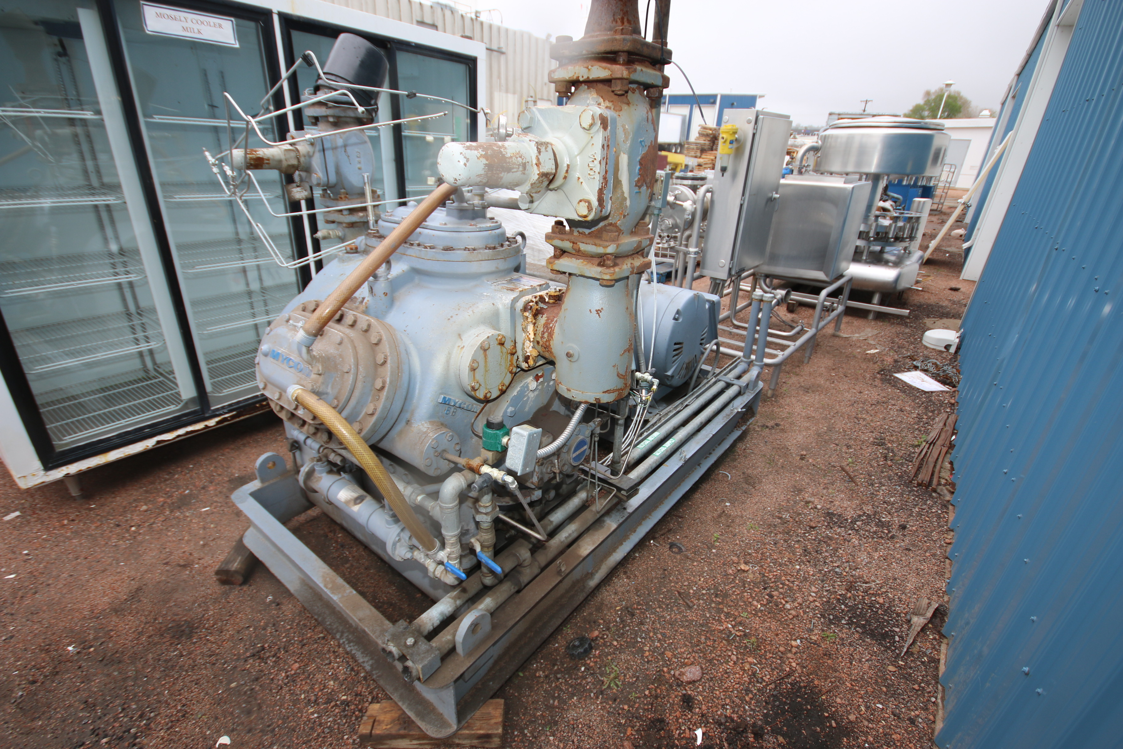 Mycom 6-Cylinder 100 hp Reciprocating Ammonia Compressor, Model N6WB