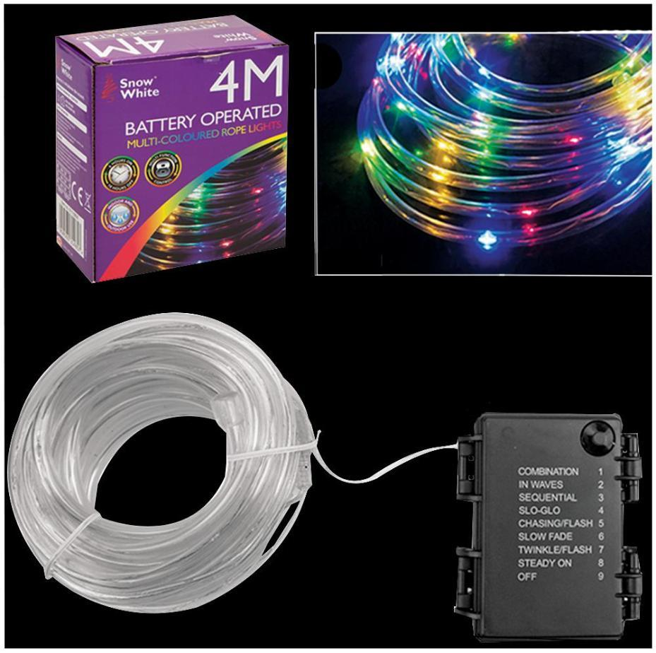 Lot 52586 - V Brand New 4M 40 LED Multi Function Rope Light - Multi coloured