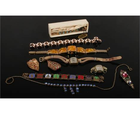 A collection of vintage costume jewellery etc including a ladies Art Deco watch, Russian amber effect bracelet watch, Florenz