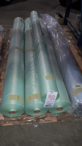 Lot 20 - Vinyl, 4 green, 1 blue striped (5 rolls)