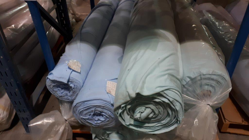 Lot 45 - Fabric knit blue/green (8 rolls)