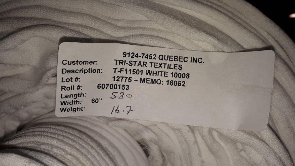 Lot 46 - Fabric extensible ratine white (9 rolls)
