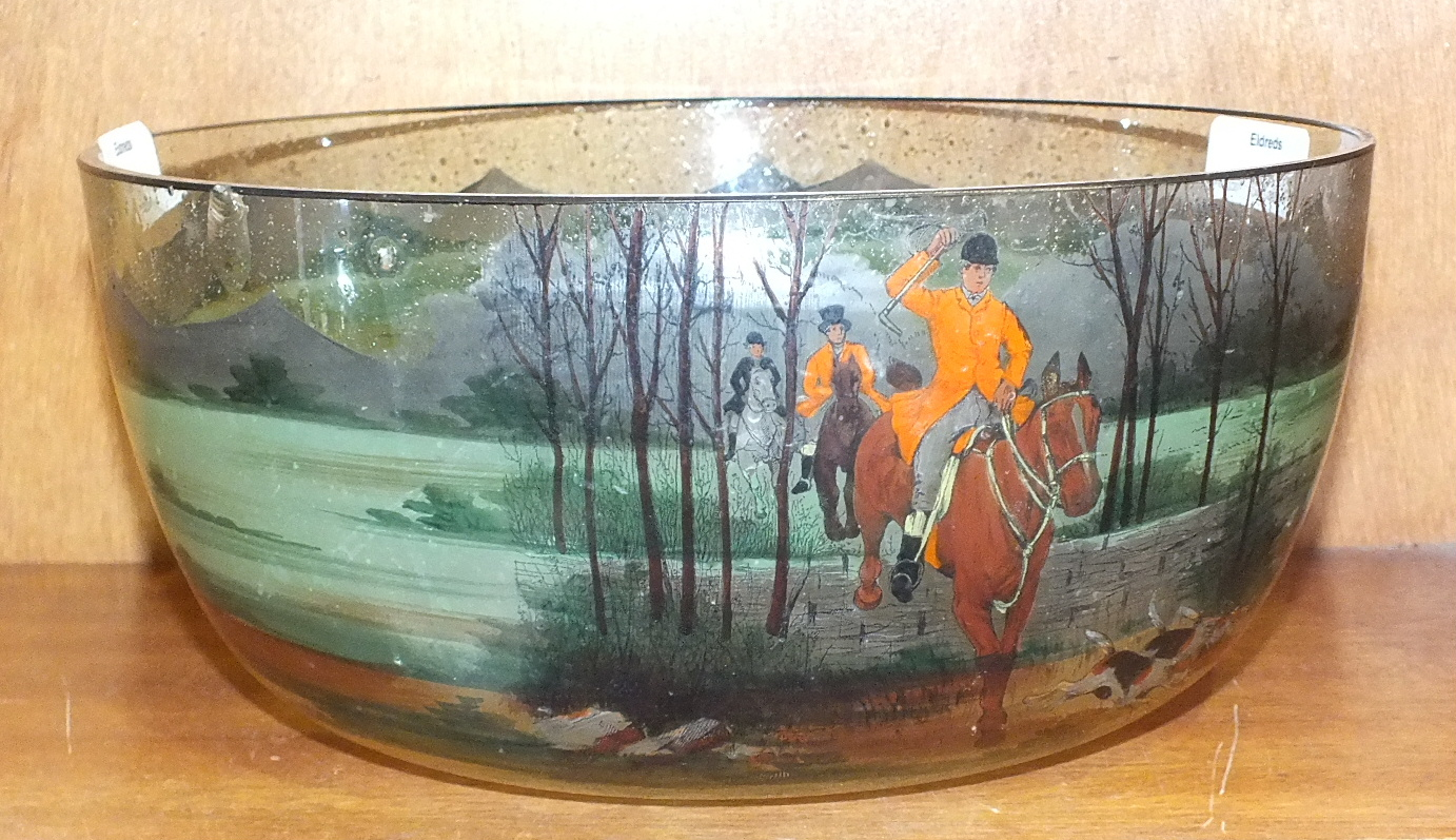 Lot 189 - A 20th century glass bowl painted with a hunting scene, 24cm diameter.