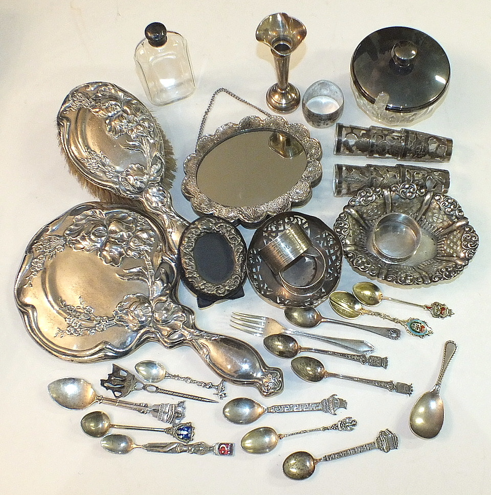 Lot 216 - A heavily-embossed silver mirror and brush set, Birmingham 1915, other small silver, including