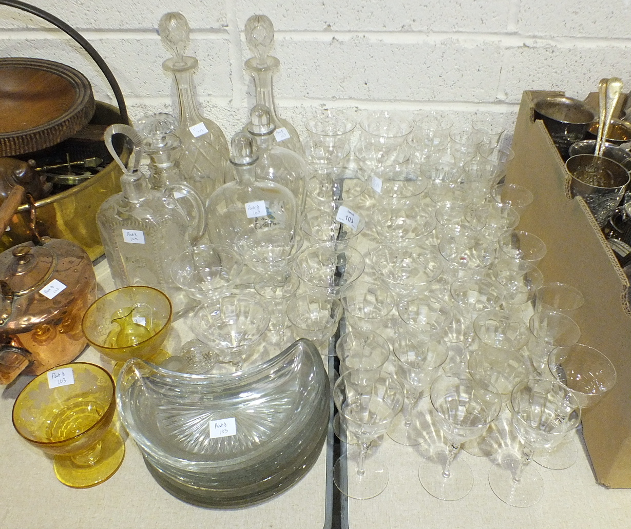 Lot 103 - A collection of cut glass and other glassware, including a ship's decanter, five other decanters,