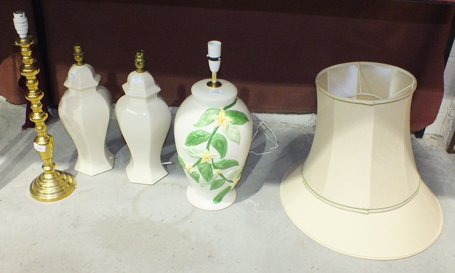 Lot 145 - A modern brassed table lamp and three ceramic table lamps, (4).