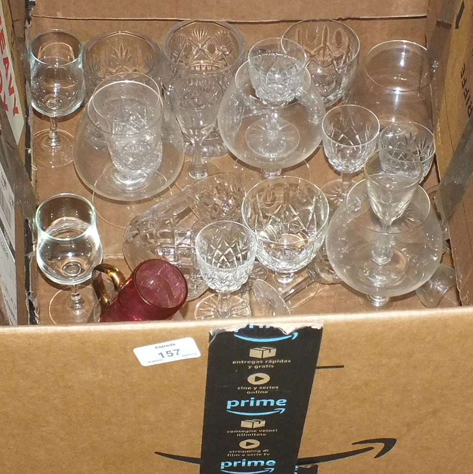 Lot 157 - A part-suite of Stuart crystal cut-glass drinking glasses, approximately fifty pieces, a pair of