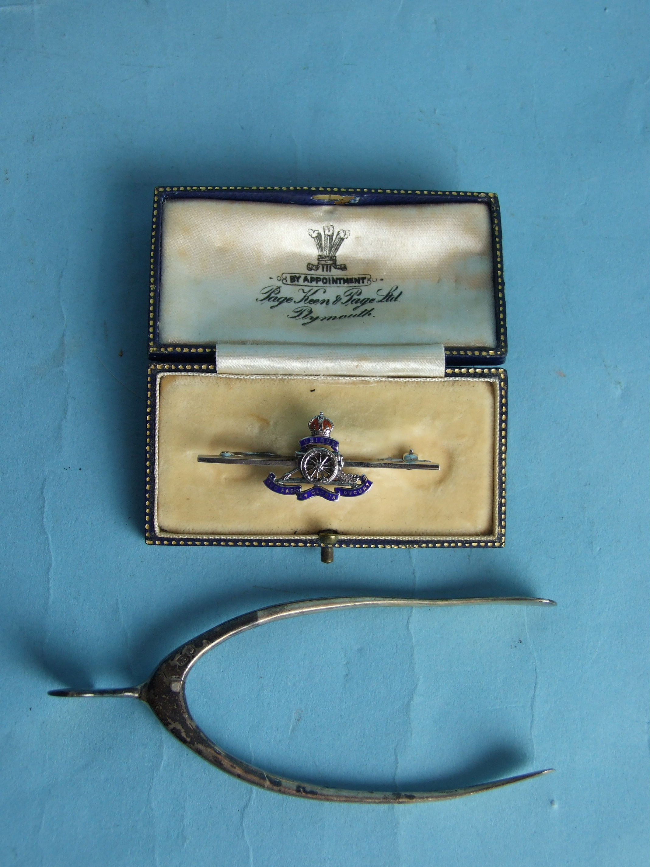 Lot 231 - A pair of silver 'wishbone' sugar tongs, London 1929, by S Mordan & Co, together with a silver