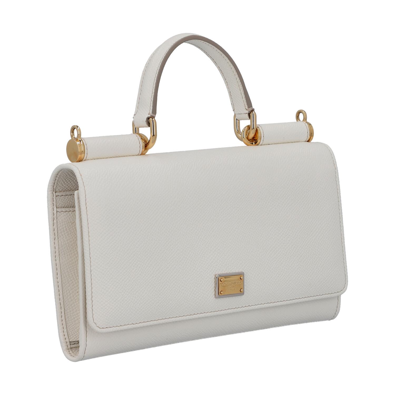"""DOLCE & GABBANA Wallet on Chain """"SICILY WALLET"""".Fein genarbtes Leder in Weiß mit goldfarbener - Bild 2 aus 6"""