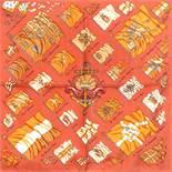"""HERMÈS Seidencarré """"PAVOIS"""".Designed by Philippe Ledoux, Motiv erstmals 1964 erschienen. 100%"""