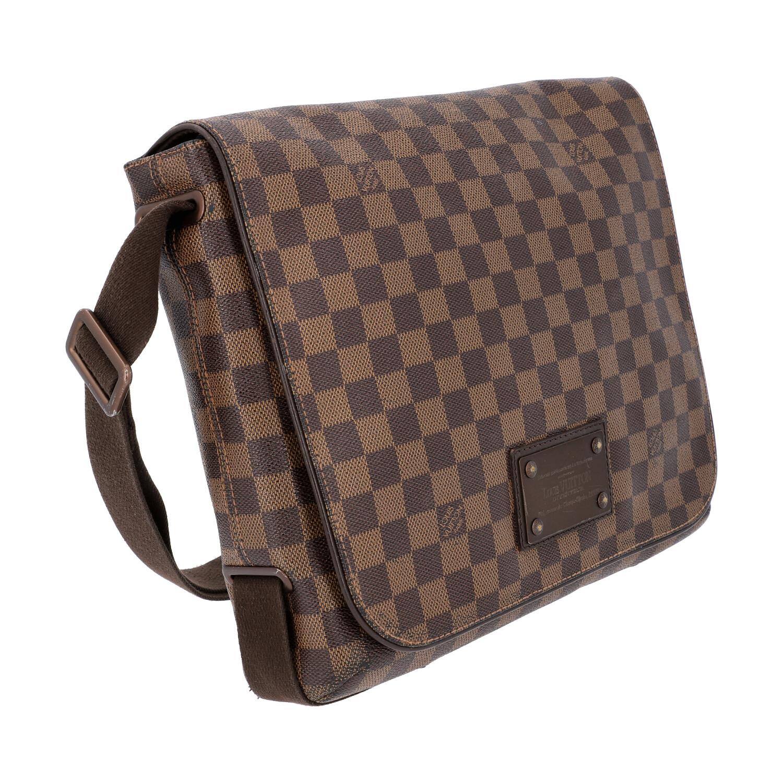 """LOUIS VUITTON Messenger Bag, """"BROOKLYN MM"""", Koll. 2010.Damier Ebene Serie mit textilem - Bild 2 aus 8"""