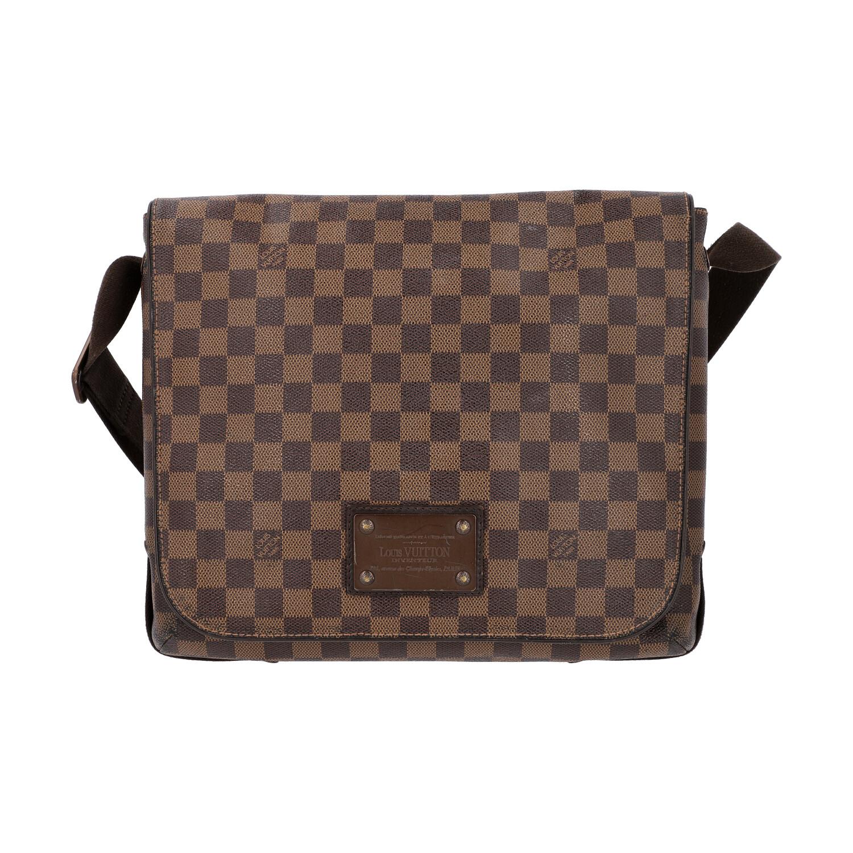 """LOUIS VUITTON Messenger Bag, """"BROOKLYN MM"""", Koll. 2010.Damier Ebene Serie mit textilem"""