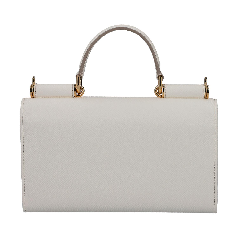 """DOLCE & GABBANA Wallet on Chain """"SICILY WALLET"""".Fein genarbtes Leder in Weiß mit goldfarbener - Bild 4 aus 6"""