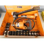 Ensley Model E181 Hydraulic Crimper and Model 41-E116 Foot Pump, Crimping Dies, and Case