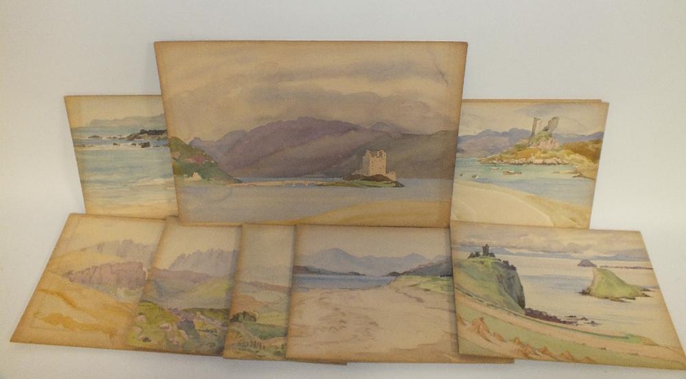 Lot 94 - MARGARET E. LLOYD (Fl. 1933-40). Ten various landscapes, all inscribed verso, unsigned,