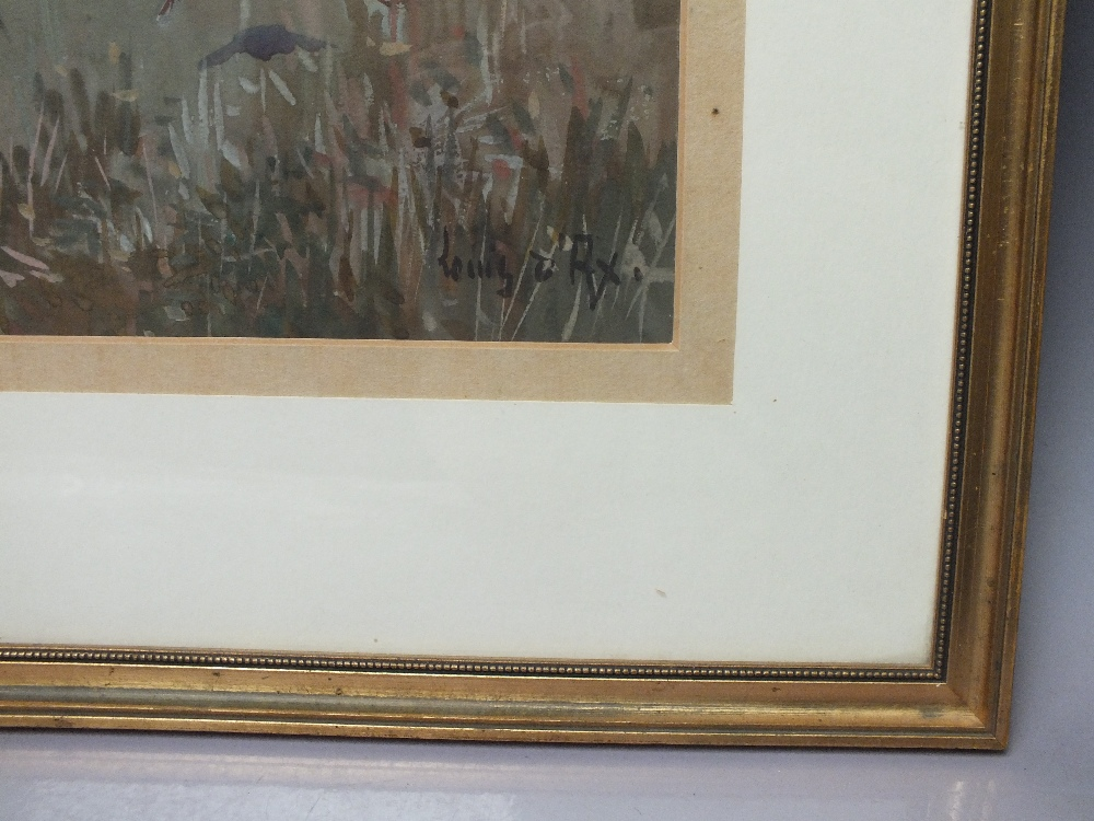 Lot 36 - LOUIS ; A 20th century landscape with huntsman shooting grouse, signed lower right, mixed media on