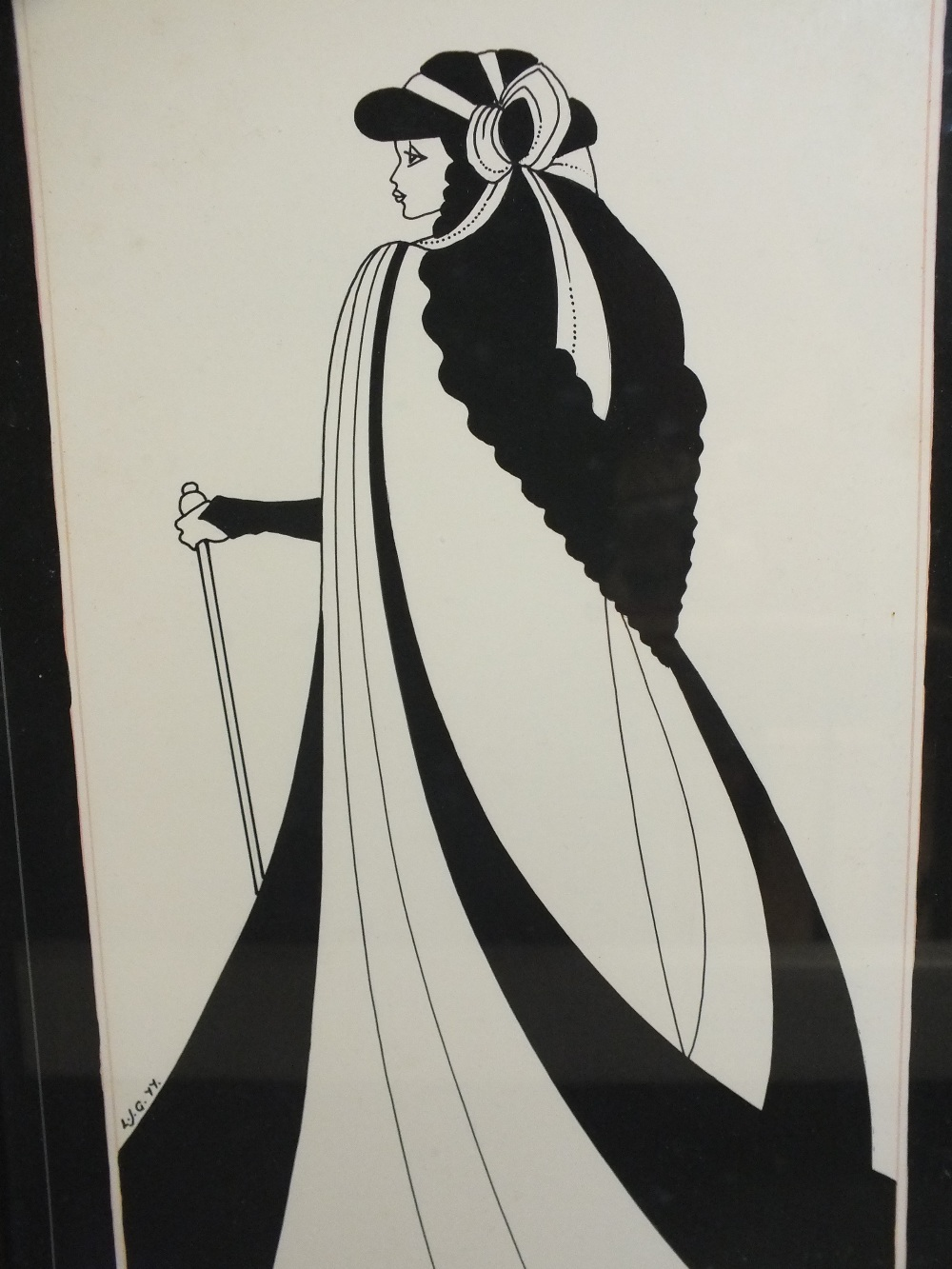 Lot 10 - L.J.G. A pair of Art Deco style portrait studies of stylized women in elegant dress, one signed