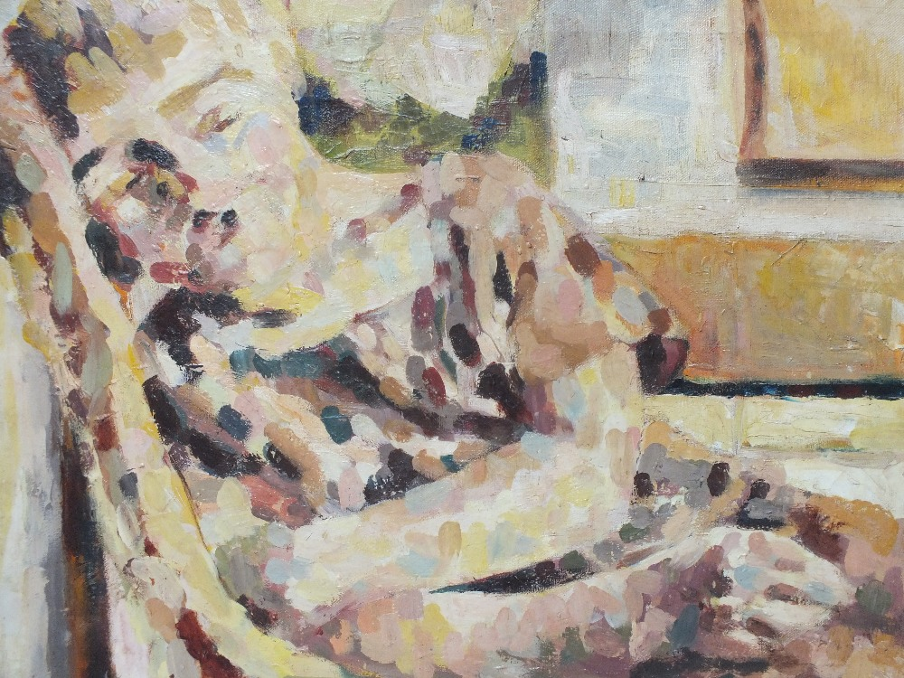 Lot 159 - CIRCLE OF MARY SWANZY (1882-1978). Irish school, impressionist interior scene with woman resting