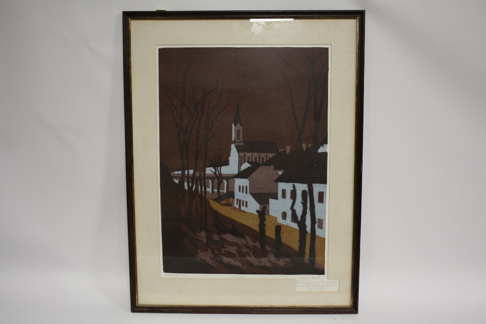 Lot 63 - RUPERT M?? (XX). Continental town scene, signed in pencil lower right, limited edition coloured
